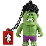 Tribe Disney Marvel Avengers Hulk - Memoria USB 2.0 de 16 GB Pendrive Flash Drive de goma con llavero, color verde