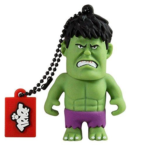 Tribe Disney Marvel Avengers Hulk USB Stick 16GB Speicherstick 2.0 High Speed Pendrive Memory Stick Flash Drive, Lustige Geschenke 3D Figur, USB Gadget aus Hart-PVC mit Schlüsselanhänger – Grün