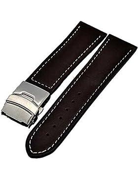 Uhrenarmband Glattleder Faltschließe 20mm braun + weisser Naht 3999