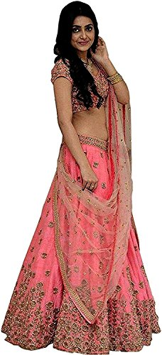 Salwar Style Women's Pink Color Embroidered Bangalore Lehenga Choli (Sanju_pink Color_Free Size)