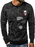 OZONEE Sweatshirt Herren Pullover Aufdruck Camouflage Motiv Aufnähern Crewneck Modern Streetwear Sport Langarmshirt JS/DD233 SCHWARZ M