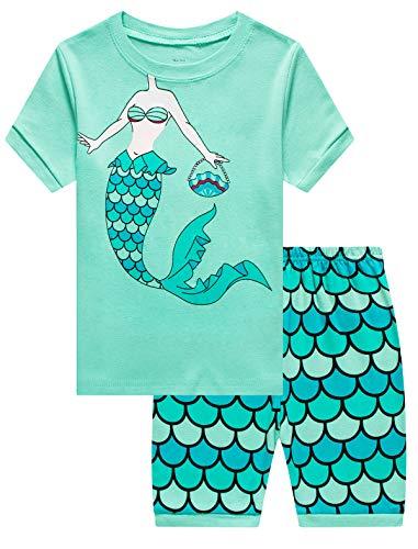 MIXIDON Mädchen Schlafanzug Giraffe Baumwolle Kinder Langarm Pyjama 98 104 110 116 122 128 134 140 146