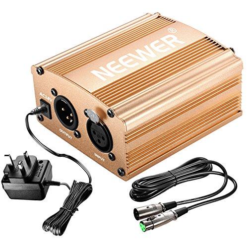Neewer 1- Channel 48V Phantom Leistungversorgung Silbern mit Adapter und Einem XLR Audio Kabel für alles Kondensor Mikrofone Musik Rekorder Ausrüstung Music Recording Equipment
