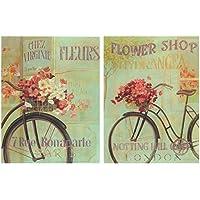 Cuadro de bicicleta bici antigua vintage. Set de 2 cuadros de 19x25 cm cada uno