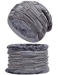 Zhhlaixing Calentar Sombrero Tejido & Bufanda del Círculo Conjuntos Más Grueso Térmico Redecilla Traje A Prueba de Viento para Hombres y Mujer Al Aire Libre Invierno