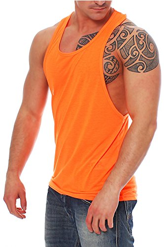 Work Hard Muscle Shirt Herren Tank Top Achselshirt mit Tief geschnittenem Armausschnitt Neon Orange, Größe:S (Muskel-fit Shirt)