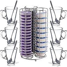 Torre de soporte para 48 cápsulas de cafetera TASSIMO + 6 tazas de cristal y 6 cucharitas para café con leche, de FiNeWaY