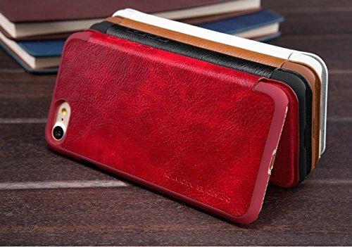 BCIT iPhone 8 Cover - Alta Qualità Slim Custodia in pelle , Flip Cover Leather Case Per iPhone 8 - Bianco Rosso