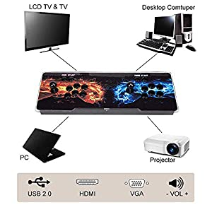 GWJ 3003 Arcade Videospiele-Konsole Multiplayer Startseite Joystick Arcade-Konsole, besonders angefertigt Buttons, 1280×720 Full HD, Advanced CPU, Unterstützung PS3, kompatibel mit HDMI und VGA