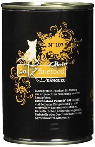 catz finefood Purrrr Känguru Monoprotein Katzenfutter nass N° 107, für ernährungssensible Katzen, 70% Fleischanteil, 6 x 400g Dose