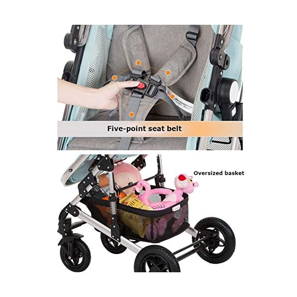 GHH Double Strollers Baby Pram Tandem Buggy Newborn Pushchair Ultra Light Folding Child Shock Absorber Trolley Can Sit Half Lying 0-3 Years Old,60kg Maximum,UpgradedversionBlue GHH 1. {Four seasons can be} - Three-sided mesh design, the awning can be adjusted to multiple angles, easy to cope with the sun 2. {75CM high landscape} - Baby can stay away from the ground heat, car exhaust to ensure your baby's health 3. {Multiple shock absorption design} - Body frame spring shockproof, rear wheel, two wheel brakes, wheel spring shockproof, baby safety 5