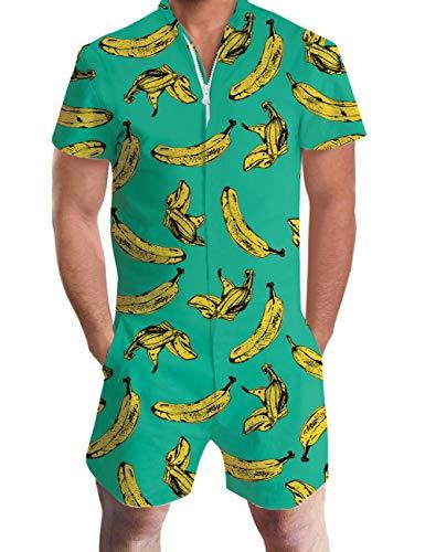 Adicreat Herren Sommer Banane Hawaii Schädel Shorts Kurzen Ärmel Strampler Overalls Grün