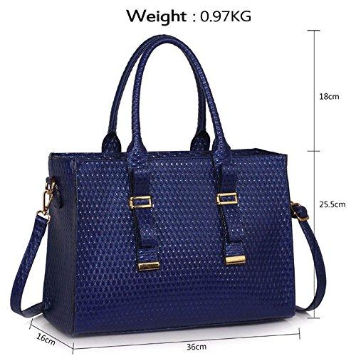 LeahWard® Groß Große Größe Damen Patent Tragetaschen Damen Mode Essener Schultertasche Handtaschen 310 Marine/Blau
