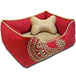 Blueberry Pet Heavy Duty Embroidered Pet Bed, Removable & Washable Cover w/YKK Zippers