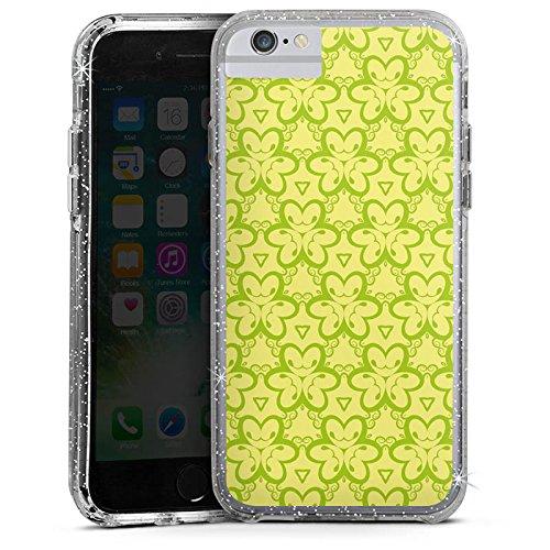 Apple iPhone 8 Bumper Hülle Bumper Case Glitzer Hülle Blumenmuster Triangles Dreiecke Bumper Case Glitzer silber