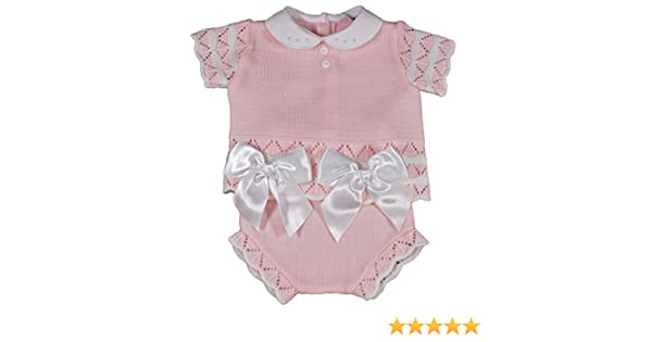 Spanish Style Baby Girl Pink Knitted Jumper and Jam Pants Set.