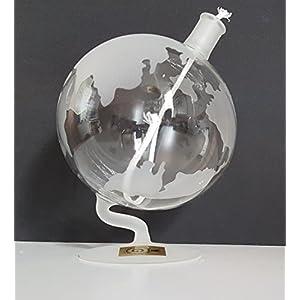 Lámpara globo de aceite petroleo redonda con mecha de soporte de cristal transparente vidrio soplado con mapa del mundo, satinada altura aprox. 15 cm