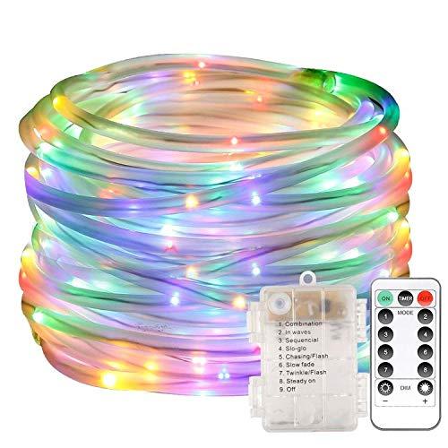 LED Lichterschlauch 10m 100 LED Lichter mit 8 Modi Innen und Außenbereich Lauflichter für Saal, Garten, Weihnachten, Hochzeit, Party - Farbe Lichtschläuche