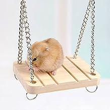 Hrph Hamster Conejo Ratón Chinchilla de madera que cuelga de mascotas Hamaca pequeña oscilación Juguetes Accesorios Jaula