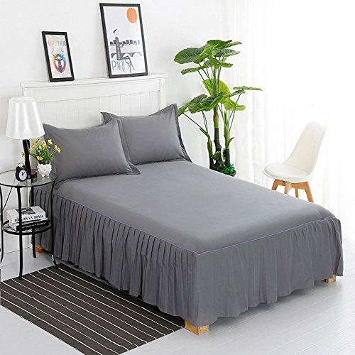 Tour de lit Couleur unie Coton Couvre-lit Protector volants noirs en dentelle Modèle anti-dérapant Lit 180x200cm(71x79inch) gris foncé