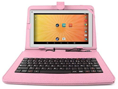 """Etui aspect cuir rose + clavier intégré AZERTY pour Artizlee Tablette Tactile 3G ATL-21 10,1"""" 16Go et ATL-26 9,6"""" 16Go avec stylet tactile BONUS - Garantie 2 ans"""