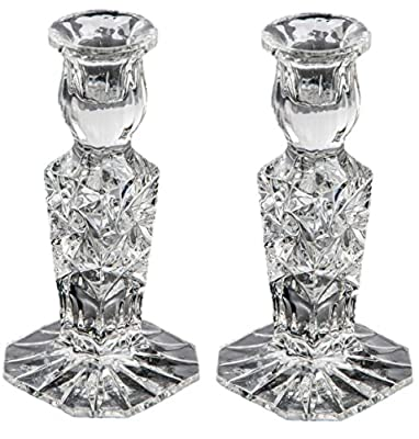 Pair of Crystal Glass Candlesticks 24% Lead Crystal Candle Holder, 15cm Tall from Swartons