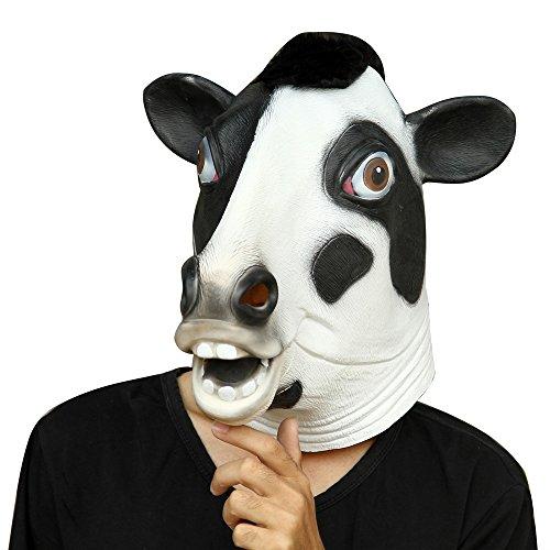 Party Story Halloween Maske Latex Kuh Tiermaske (Kostüm Kuh Gesicht)