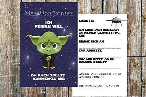 karten zum Kindergeburtstag für Jungen | Geburtstag-Einladungen für Kinder mit Motiv Yoda | Set: 8 Stück ()