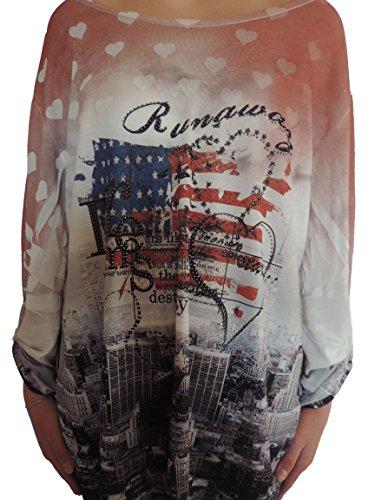 Verschiedene Farben Damen Tuniken Größe 48 50 52 54 56 Rotton