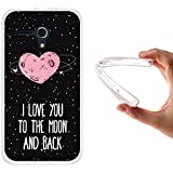 Funda Alcatel One Touch Pop D5, WoowCase [ Alcatel One Touch Pop D5 ] Funda Silicona Gel Flexible Corazón Frase Amor - I Love You To The Moon And Back, Carcasa Case TPU Silicona - Transparente