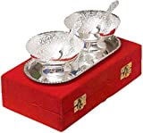 #7: Indiancraftvilla Handmade Silver Plated Brass Bowl With Tray Set Of 5 Pieces