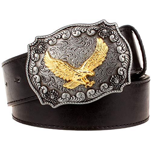 Ddcjc Cinturón Cinturón De Cuero Para Hombre Hebilla De Metal Retro Eagle Totem Patrón Estilo Occidental Cinturones Hombres Cowboy Bull Cinturón Regalo De Mujer