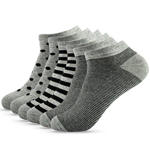 OAKLINE 6 Paar Sneaker Damen Sneaker Socken Schwarz 39-42 Herren grau bunt bunte 39 40 41 42 Muster bunt punkte streifen Füßlinge Füsslinge Baumwolle Damensocken bunte (gray&black, 39-42)