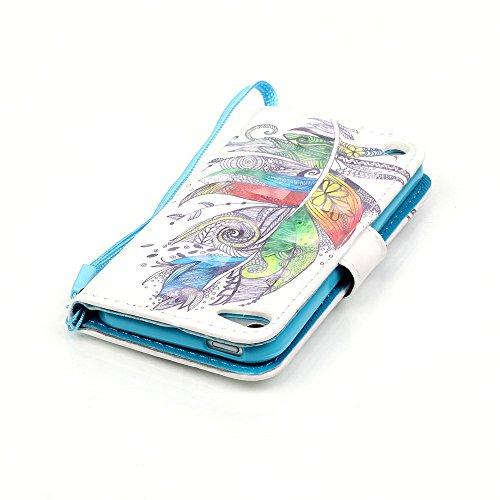 Coque pour Apple iPhone 5 5S 5SE,Housse en cuir pour Apple iPhone 5 5S 5SE,Ecoway 3D motif de couleur peint en relief étui en cuir PU Cuir Flip Magnétique Portefeuille Etui Housse de Protection Coque  plumes colorées