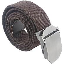 Regolabile Canvas Cintura Belt Waistband con Fibbia in metallo Slider - Aohro All
