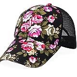 Vovotrade Broderie de Coton Floral de Baseball Cap Filles Femmes Snapback Hip Hop Chapeau Plat (Noir)