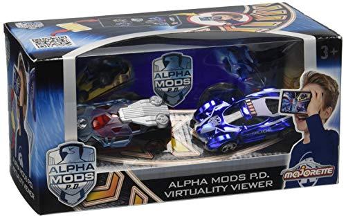 Majorette 212058502 - Alpha Mods P.D. Virtuality Viewer + 2 Cars, Set: 3D-VR-Brille mit...
