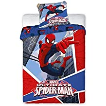Funda nórdica reversible + 1 funda de almohada SPIDERMAN para cama individual de 90 (SPIDERMAN 007)
