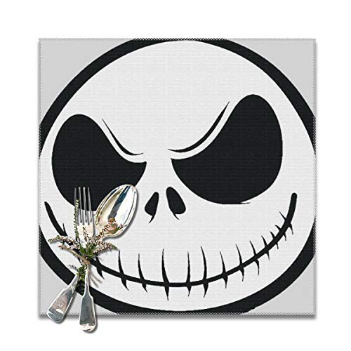 best gift Placemats for Dining Table,Jack Skellington Nightmare Before Christmas Non-Slip Insulation Placemat Washable PVC Polyester for Kitchen Banquet Party,Set of 6, 12x12 inch (Before Halloween Nightmare Happy Christmas)