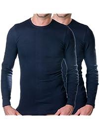 HERMO 3640 Lot de 2 Shirt Homme à manche longue, Maillot de corps en 100% coton d'Europe