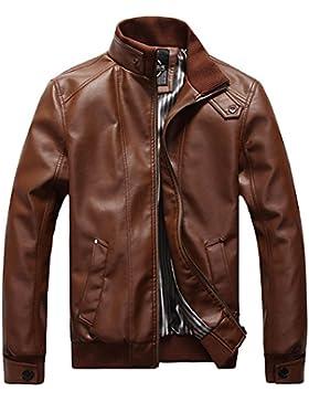 Para Hombre Traje de Chaqueta Otoño Invierno Abrigos de Piel Sintética Motorista de motocicleta Moto estilo Outwear