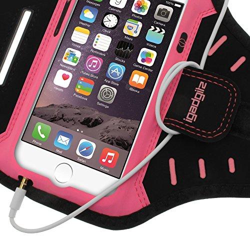 igadgitz Schwarz Wasserabweisend Leichtes Neopren Sports Jogging Armband Laufen Fitness Oberarmtasche für Apple iPhone 7 & 8 4.7 Zoll mit Schlüsselfach Pink
