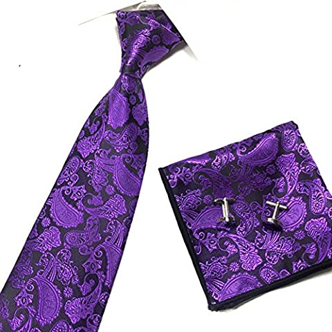 SCFL Men' s 3 Set Long Necktie Self Bow Tie