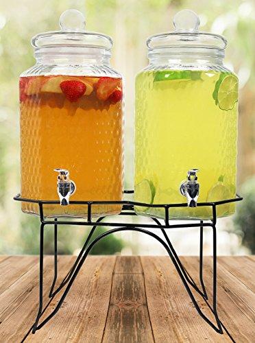 Estilo, Glas Doppel Getränk Drink Dispenser auf Ständer mit Leck frei Spigot, 1l, klar (Dispenser Klar Drink)
