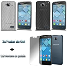 OFERTA de 2 Fundas Gel SILICONA Color Blanco y Negro + 2 Protectores de pantalla para Alcatel One Touch Idol Mini (OT-6012) - Orange Hiro