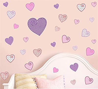 Pretty Patterned Hearts - Pack of 30 - Wall Art Vinyl Printed Stickers - cheap UK light shop.