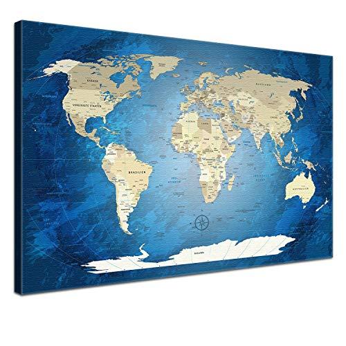 """LANA KK - Weltkarte Leinwandbild mit Korkrückwand zum pinnen der Reiseziele - \""""World Map Blue Ocean\"""" - deutsch - Kunstdruck-Pinnwand Globus in blau, einteilig & fertig gerahmt in 100x70cm"""