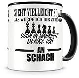 Samunshi Ich denke an Schach Tasse Kaffeetasse Teetasse Kaffeepott Kaffeebecher Becher Nr.1: schwarz/schwarz H:95mm / D:82mm