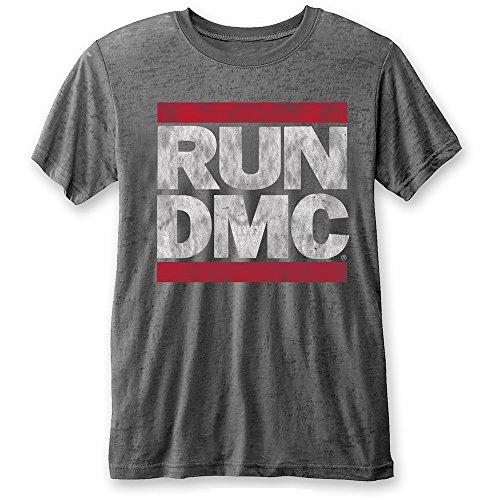 RUN DMC Rock Icon Marken Classic Tongue Logo Herren T-Shirt Grau (S-XL) (L) (Classic Vintage T-shirts Rock)