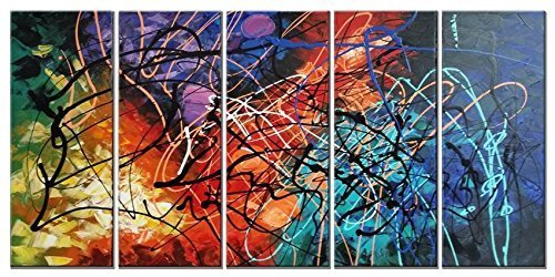 Wieco Art - Modern 5 Piece 100% Hand Painted Stretched and Framed Colorful Abstract Heart Oil Paintings Artwork on Canvas Wall Art Ready to Hang for Living Room Bedroom Home Office Decorations